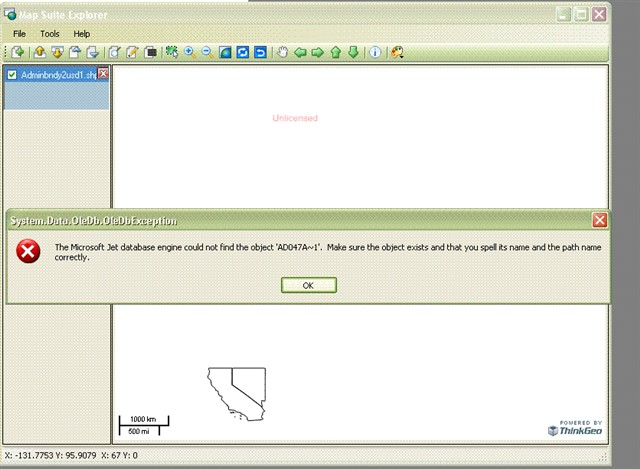 Shape file - weird table loading issues - WebForms - ThinkGeo
