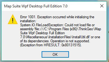 Error 1001, Can not get IIS pickup directory - Map Suite WPF
